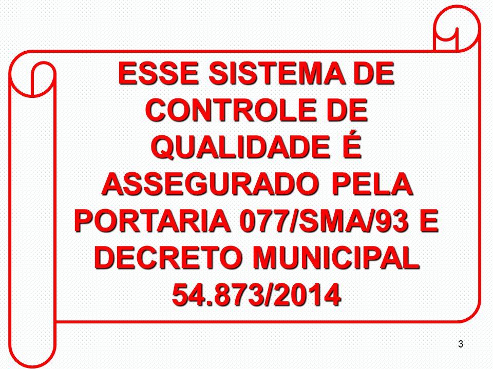 ESSE SISTEMA DE CONTROLE DE QUALIDADE É ASSEGURADO PELA PORTARIA 077/SMA/93 E DECRETO MUNICIPAL 54.873/2014