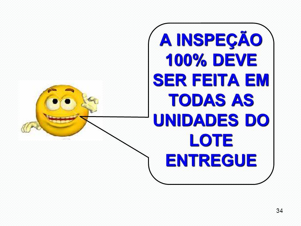 A INSPEÇÃO 100% DEVE SER FEITA EM TODAS AS UNIDADES DO LOTE ENTREGUE