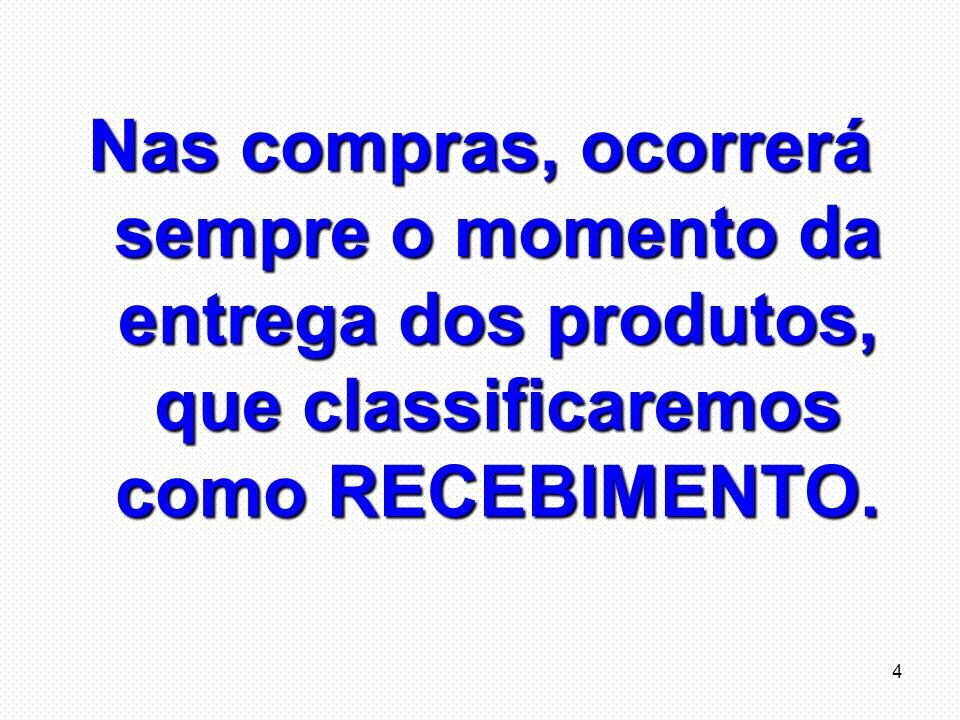 Nas compras, ocorrerá sempre o momento da entrega dos produtos, que classificaremos como RECEBIMENTO.