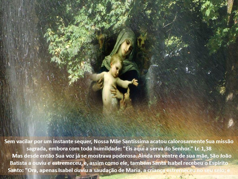 Sem vacilar por um instante sequer, Nossa Mãe Santíssima acatou calorosamente Sua missão sagrada, embora com toda humildade: Eis aqui a serva do Senhor. Lc 1,38