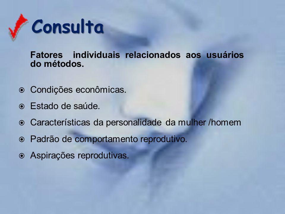 Consulta Fatores individuais relacionados aos usuários do métodos.
