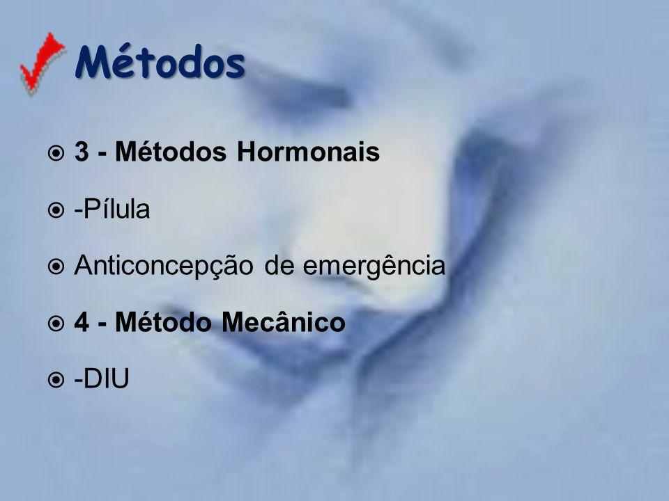 Métodos 3 - Métodos Hormonais -Pílula Anticoncepção de emergência
