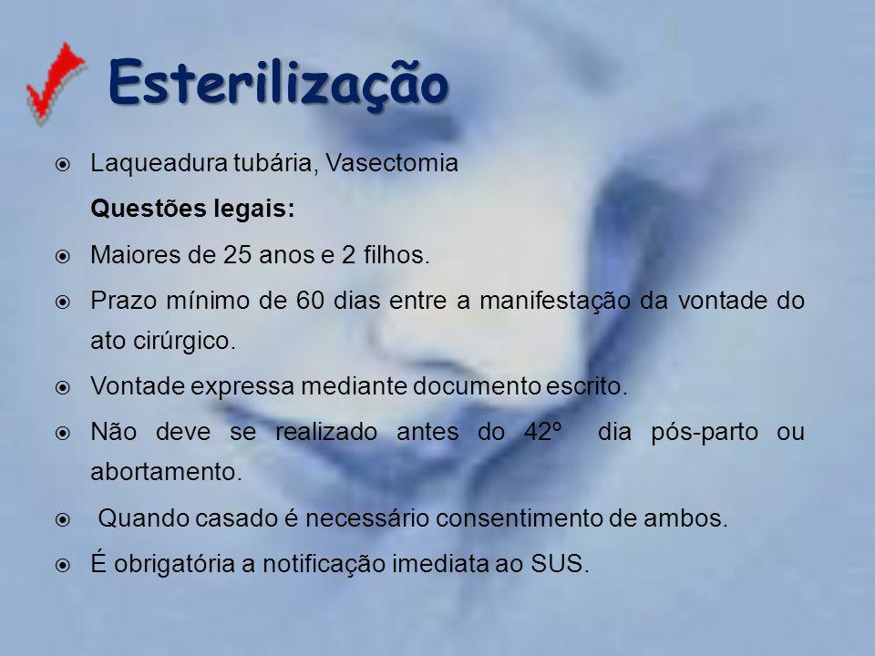 Esterilização Laqueadura tubária, Vasectomia Questões legais: