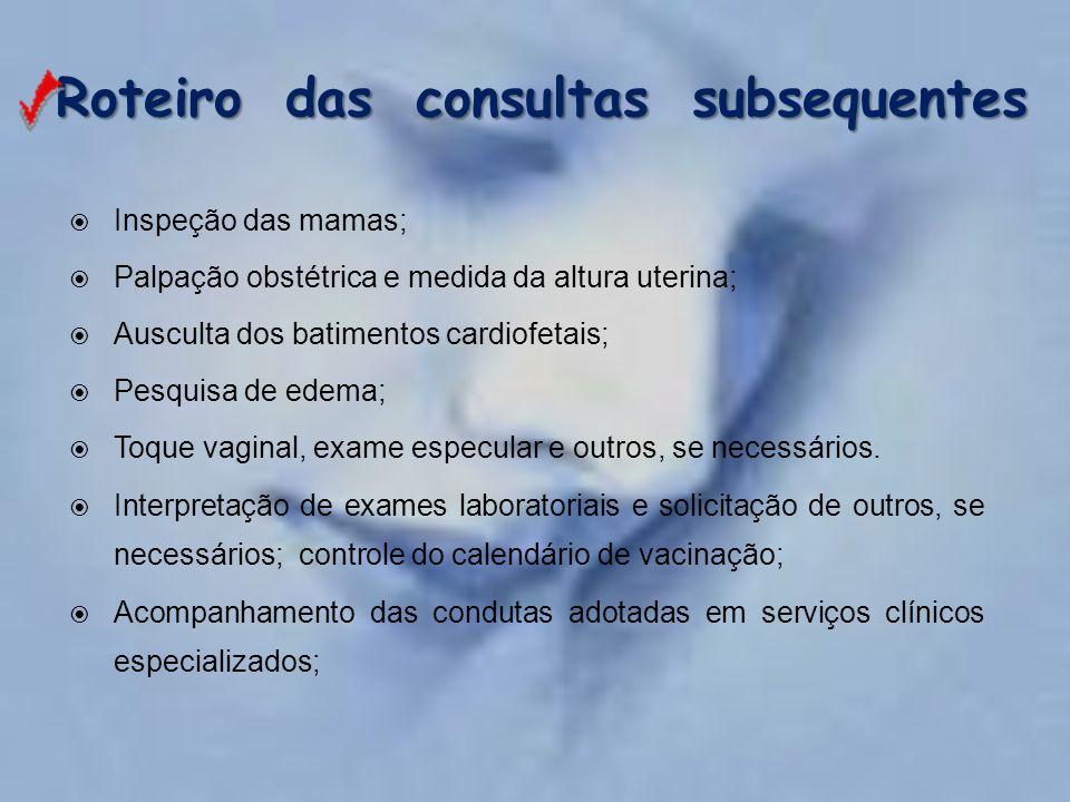 Roteiro das consultas subsequentes