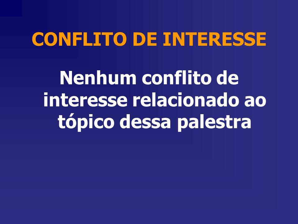 Nenhum conflito de interesse relacionado ao tópico dessa palestra