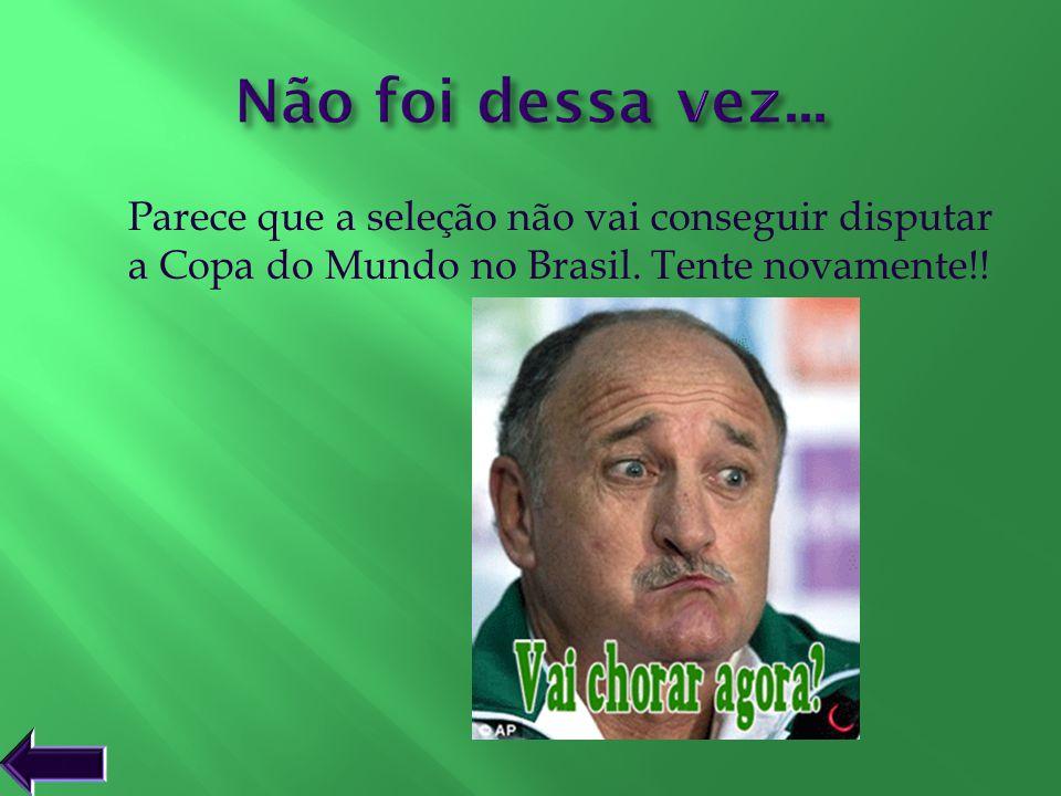 Não foi dessa vez... Parece que a seleção não vai conseguir disputar a Copa do Mundo no Brasil. Tente novamente!!