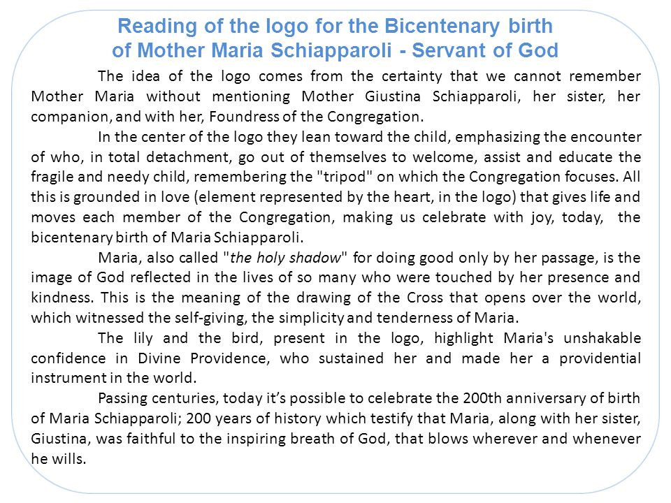 Reading of the logo for the Bicentenary birth