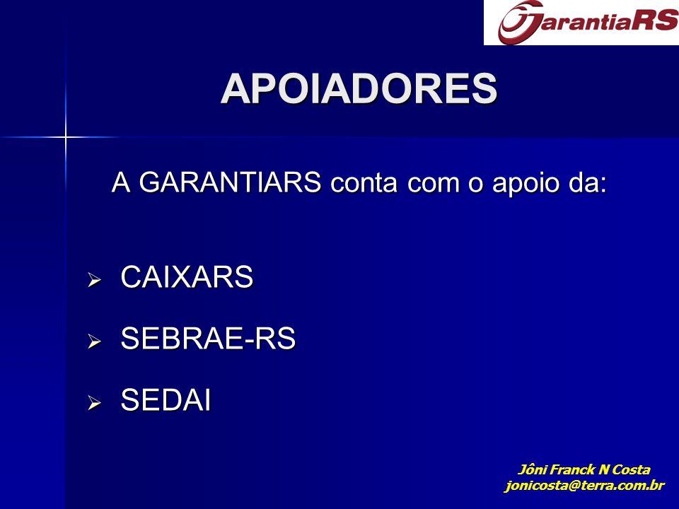 APOIADORES A GARANTIARS conta com o apoio da: CAIXARS SEBRAE-RS SEDAI