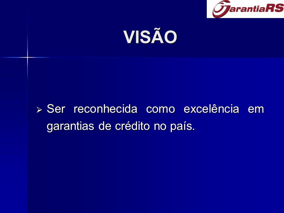 VISÃO Ser reconhecida como excelência em garantias de crédito no país.