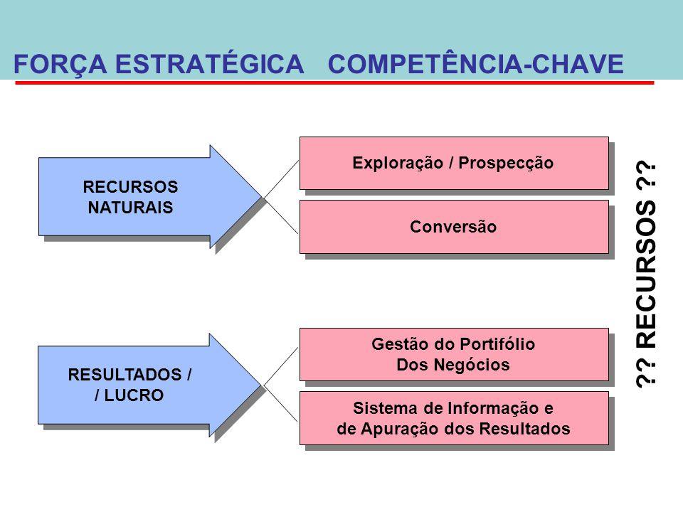 FORÇA ESTRATÉGICA COMPETÊNCIA-CHAVE RECURSOS
