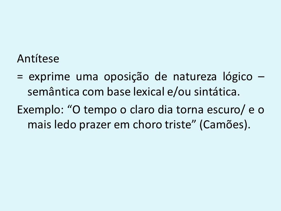 Antítese = exprime uma oposição de natureza lógico – semântica com base lexical e/ou sintática.