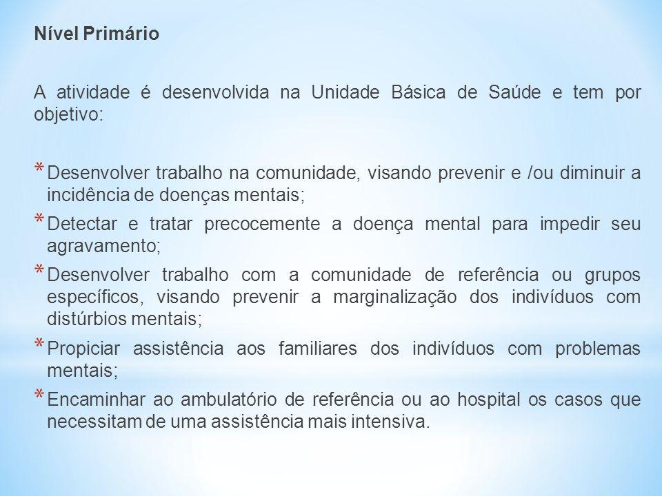 Nível Primário A atividade é desenvolvida na Unidade Básica de Saúde e tem por objetivo: