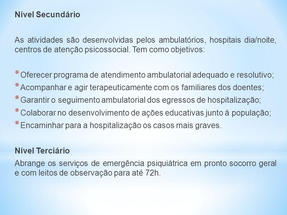 Nível Secundário As atividades são desenvolvidas pelos ambulatórios, hospitais dia/noite, centros de atenção psicossocial. Tem como objetivos: