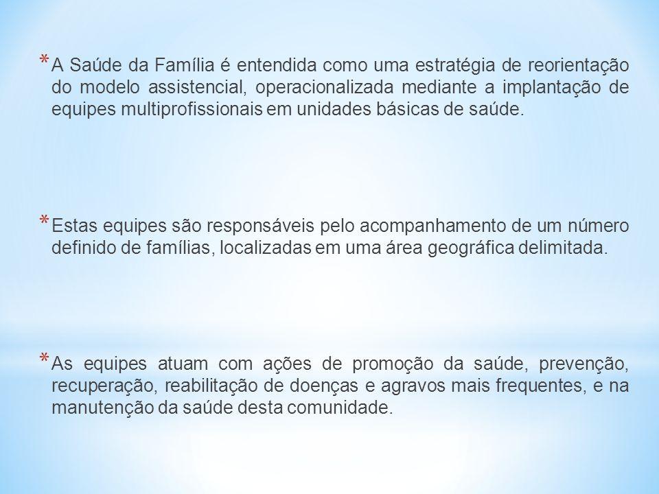 A Saúde da Família é entendida como uma estratégia de reorientação do modelo assistencial, operacionalizada mediante a implantação de equipes multiprofissionais em unidades básicas de saúde.
