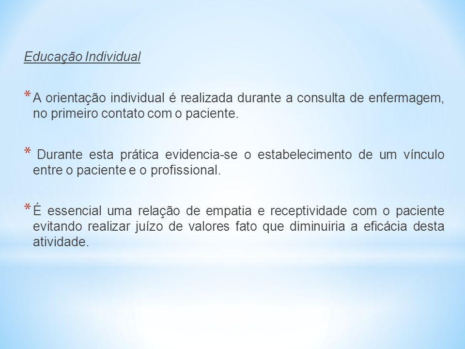 Educação Individual A orientação individual é realizada durante a consulta de enfermagem, no primeiro contato com o paciente.