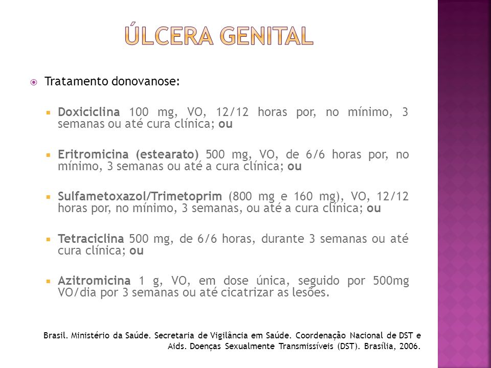 ÚLCERA GENITAL Tratamento donovanose: