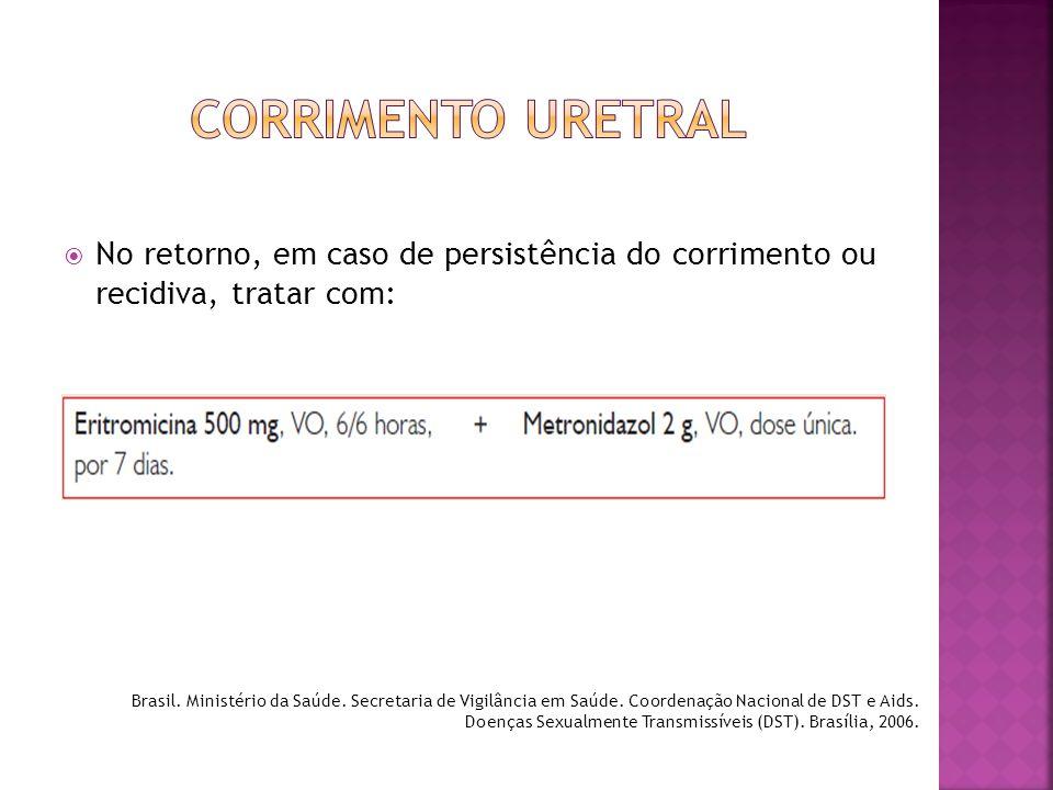 CORRIMENTO URETRAL No retorno, em caso de persistência do corrimento ou recidiva, tratar com: