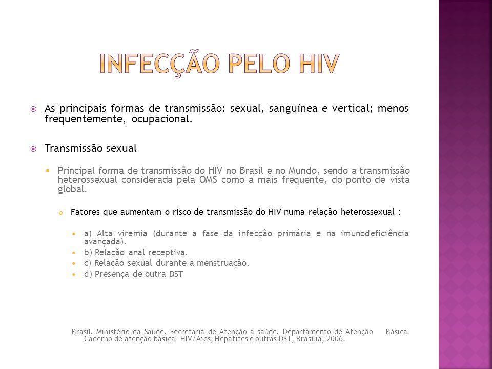 Infecção pelo hiv As principais formas de transmissão: sexual, sanguínea e vertical; menos frequentemente, ocupacional.