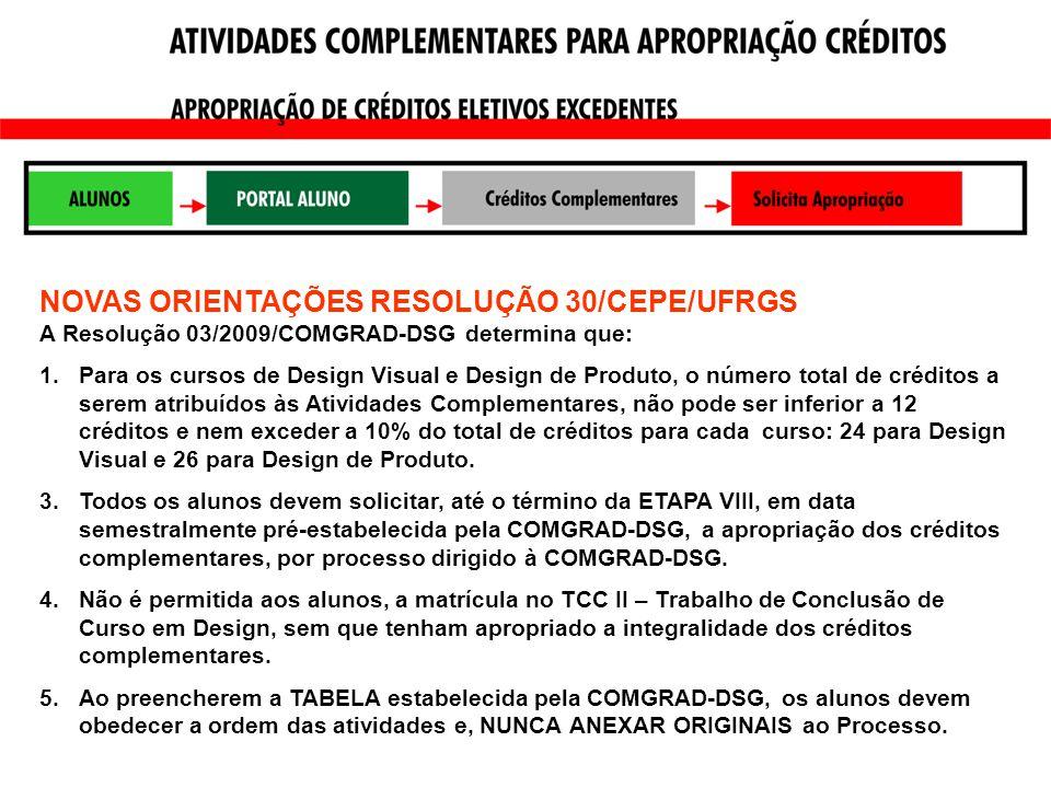 NOVAS ORIENTAÇÕES RESOLUÇÃO 30/CEPE/UFRGS