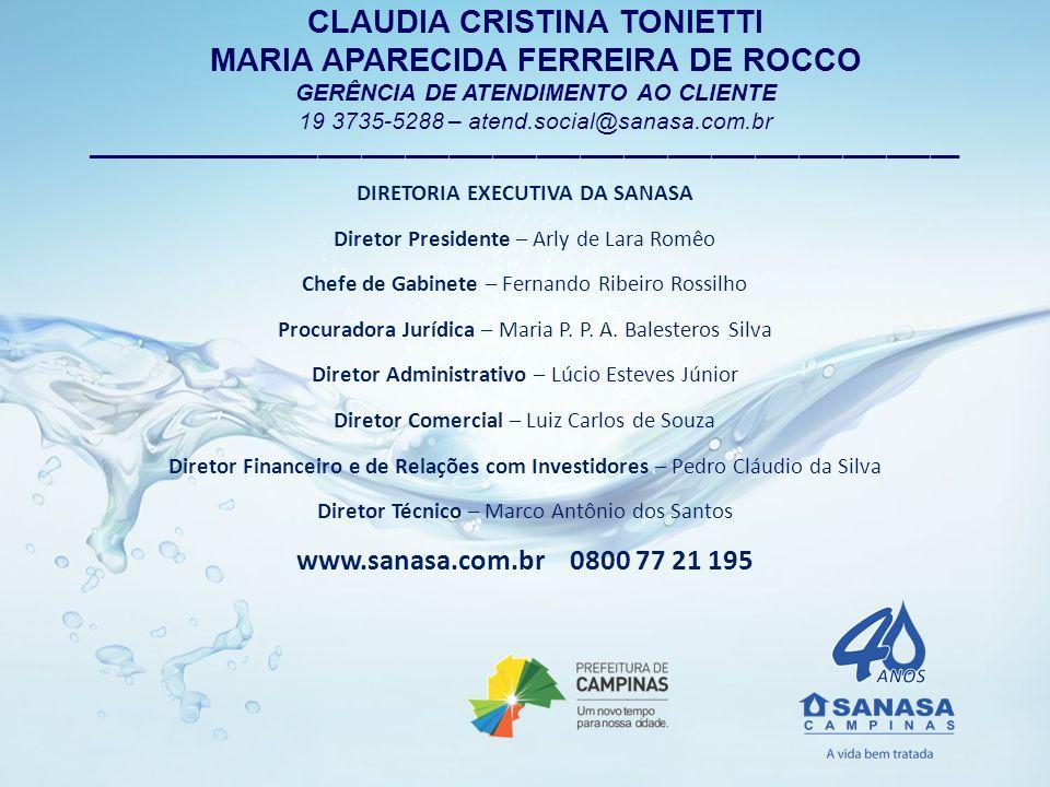 CLAUDIA CRISTINA TONIETTI MARIA APARECIDA FERREIRA DE ROCCO