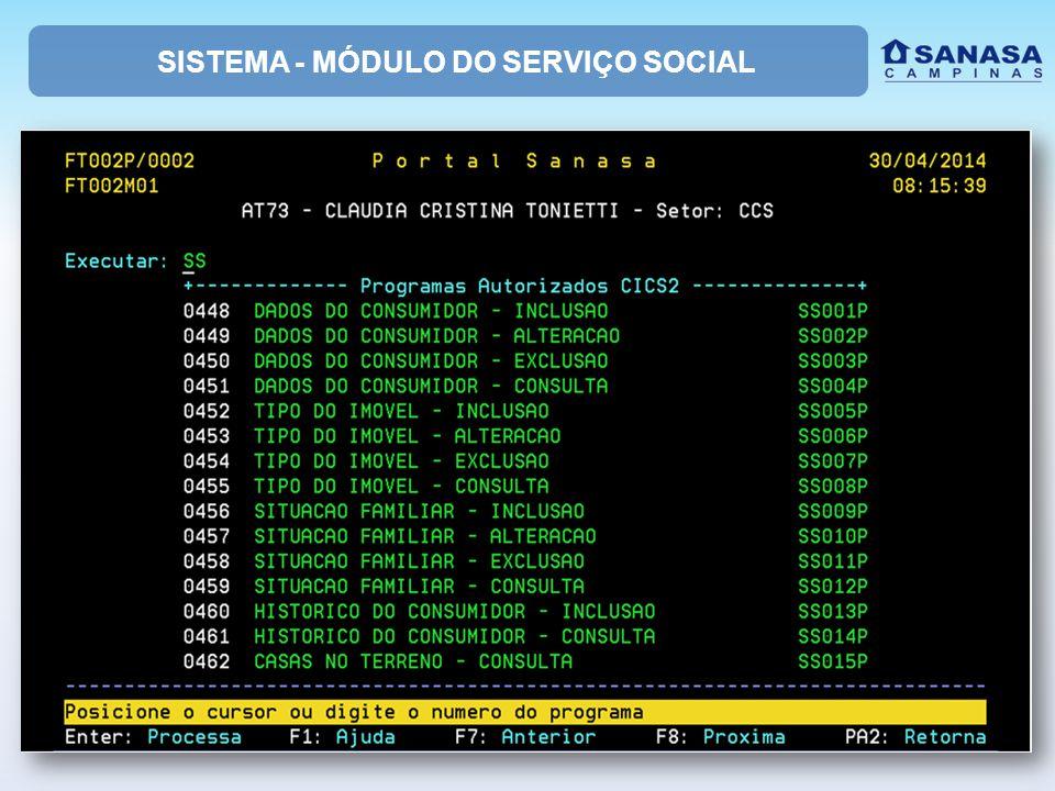 SISTEMA - MÓDULO DO SERVIÇO SOCIAL