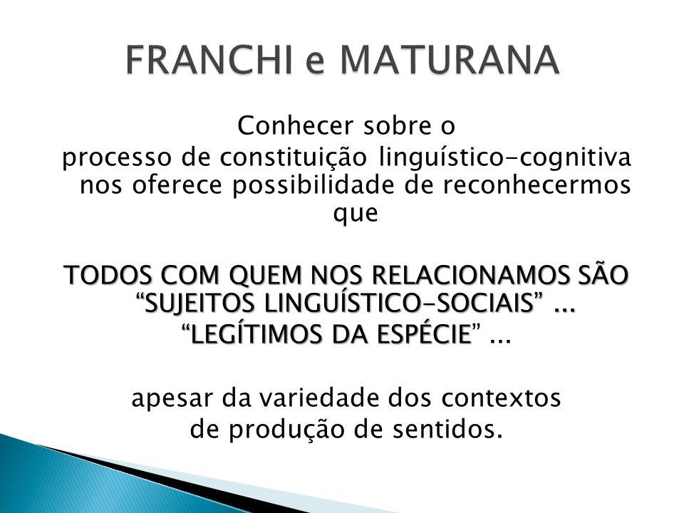FRANCHI e MATURANA Conhecer sobre o