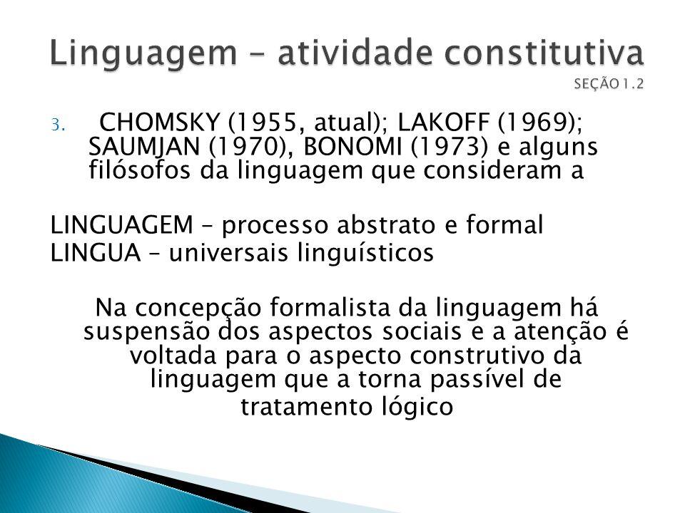 Linguagem – atividade constitutiva SEÇÃO 1.2