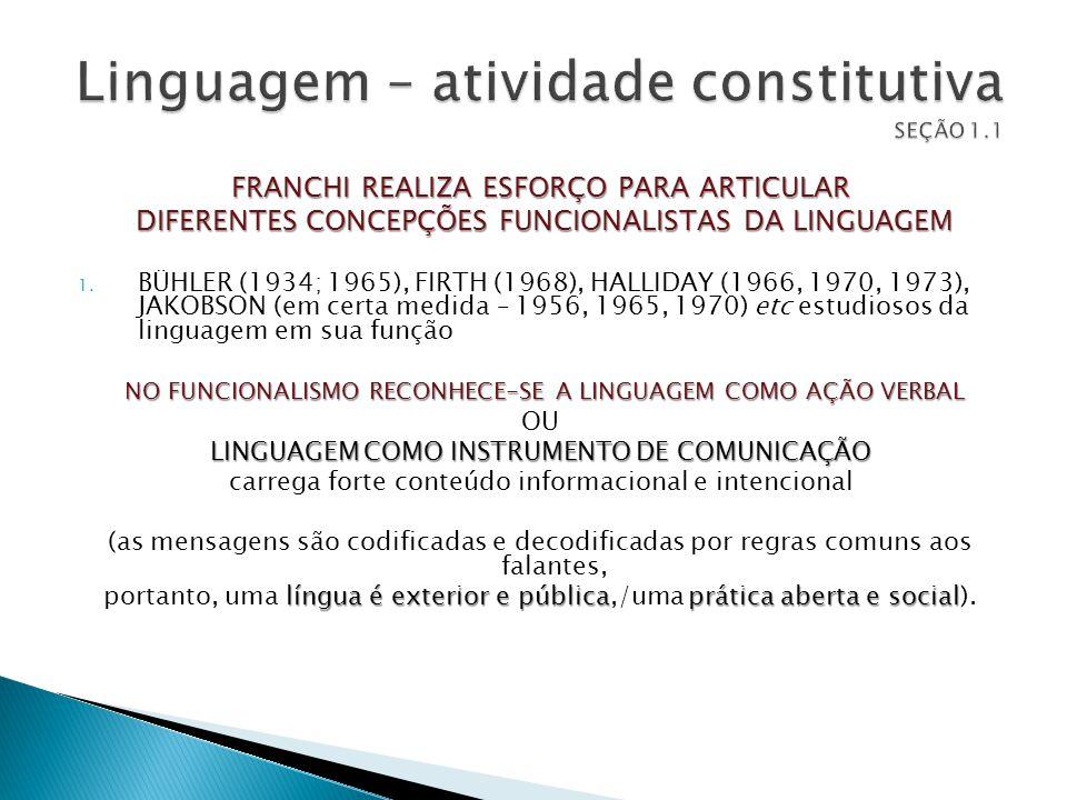 Linguagem – atividade constitutiva SEÇÃO 1.1