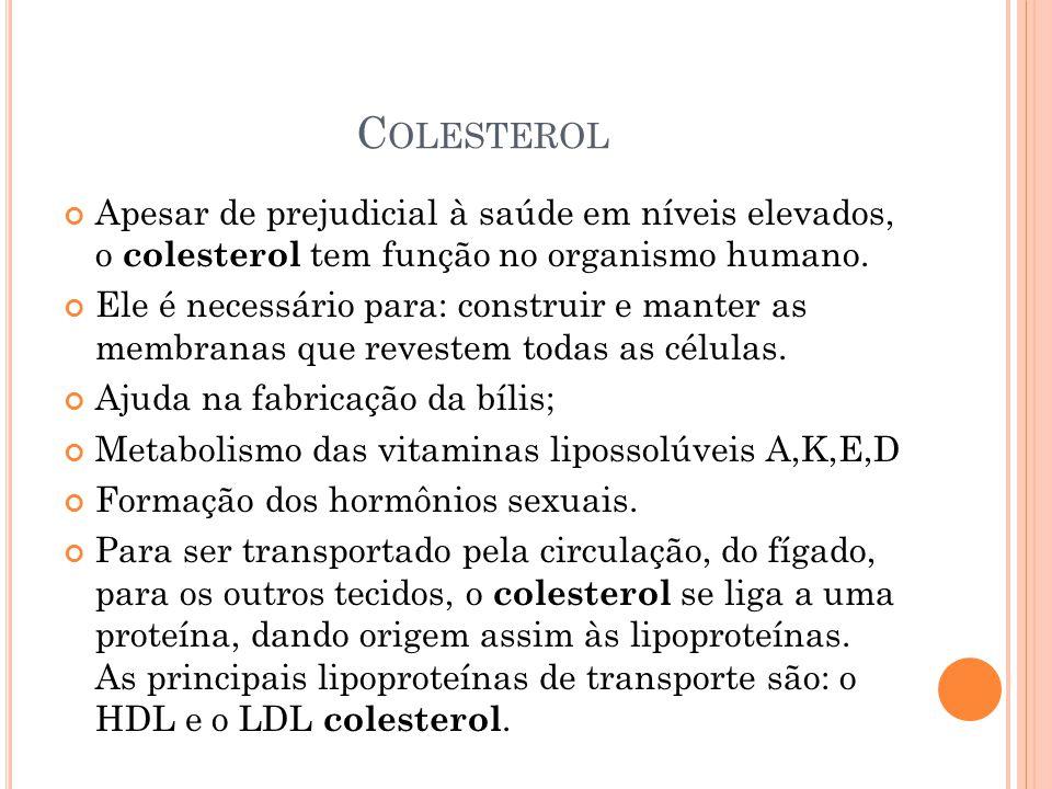Colesterol Apesar de prejudicial à saúde em níveis elevados, o colesterol tem função no organismo humano.