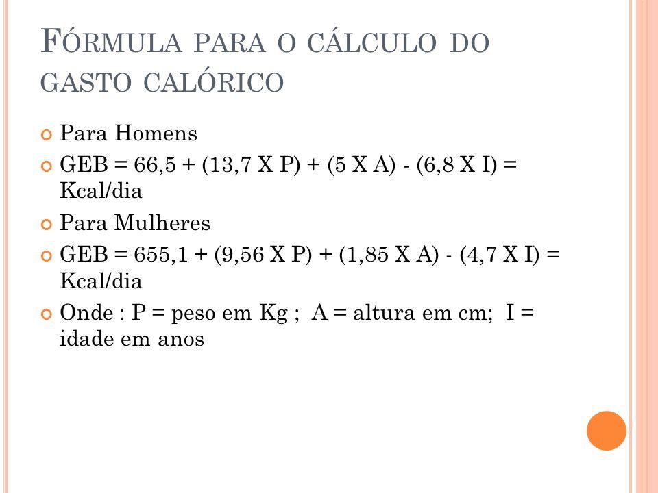 Fórmula para o cálculo do gasto calórico