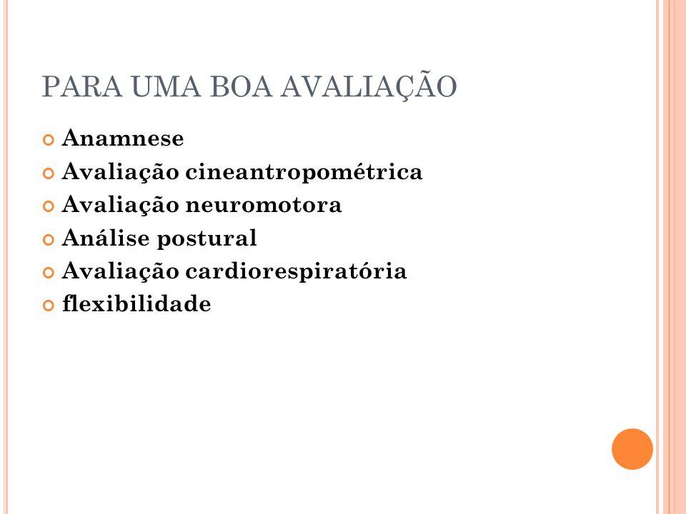 PARA UMA BOA AVALIAÇÃO Anamnese Avaliação cineantropométrica