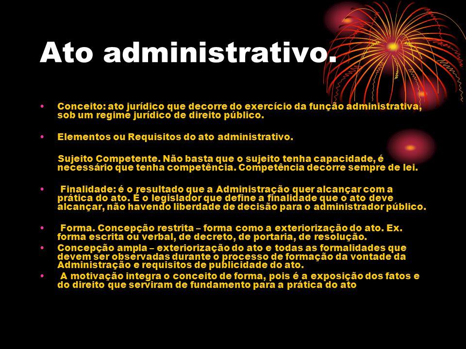 Ato administrativo. Conceito: ato jurídico que decorre do exercício da função administrativa, sob um regime jurídico de direito público.