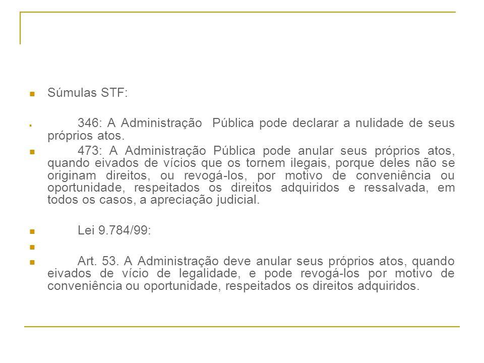 Súmulas STF: 346: A Administração Pública pode declarar a nulidade de seus próprios atos.