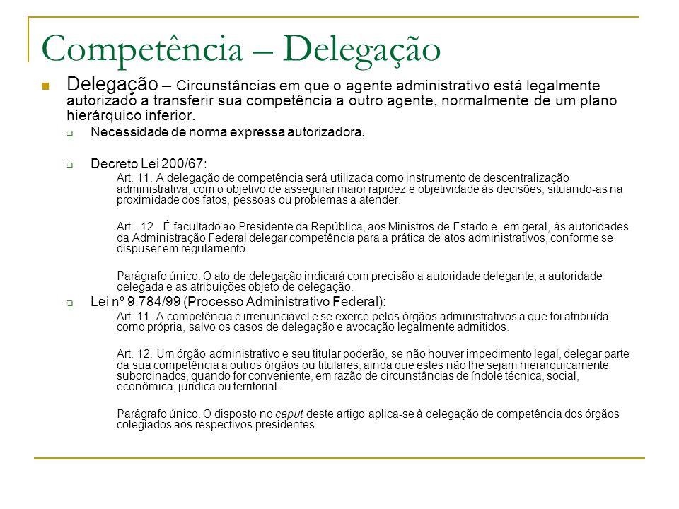 Competência – Delegação