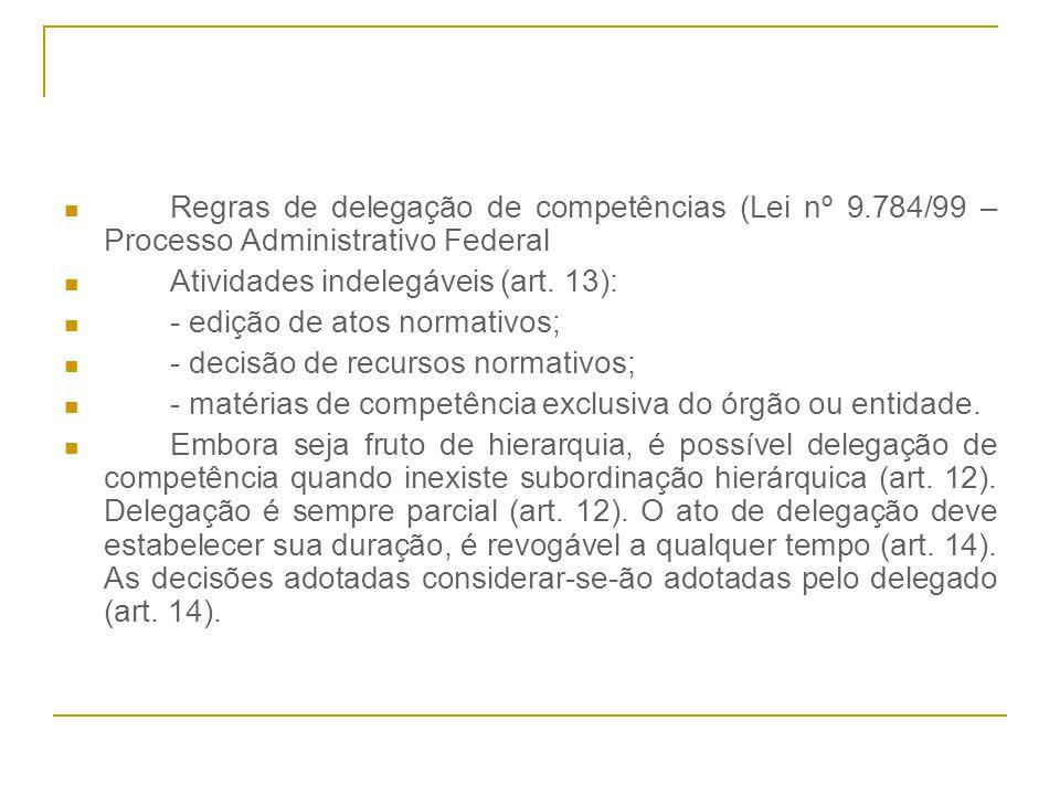 Regras de delegação de competências (Lei nº 9