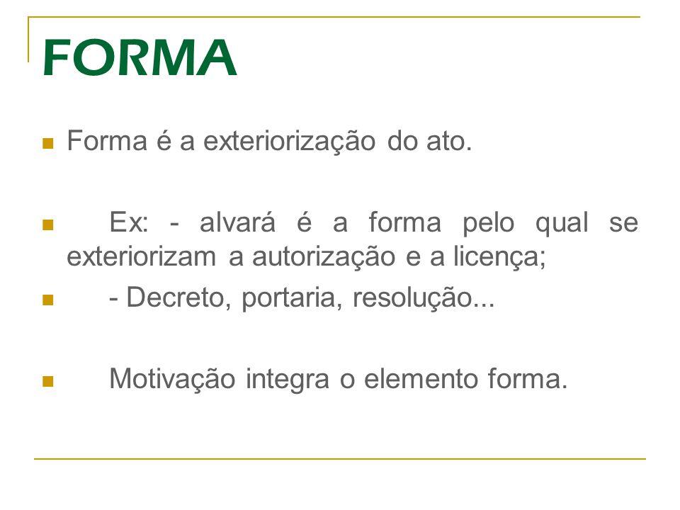 FORMA Forma é a exteriorização do ato.