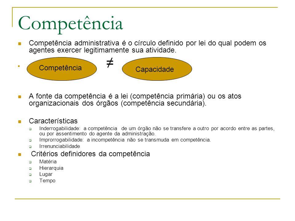 Competência Competência administrativa é o círculo definido por lei do qual podem os agentes exercer legitimamente sua atividade.