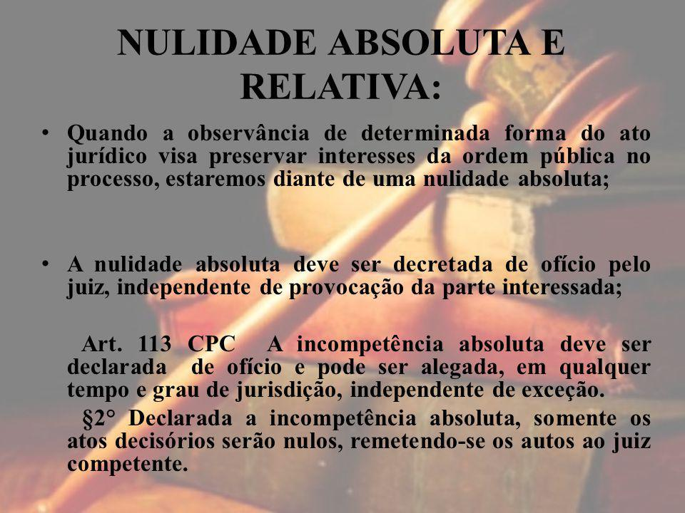 NULIDADE ABSOLUTA E RELATIVA: