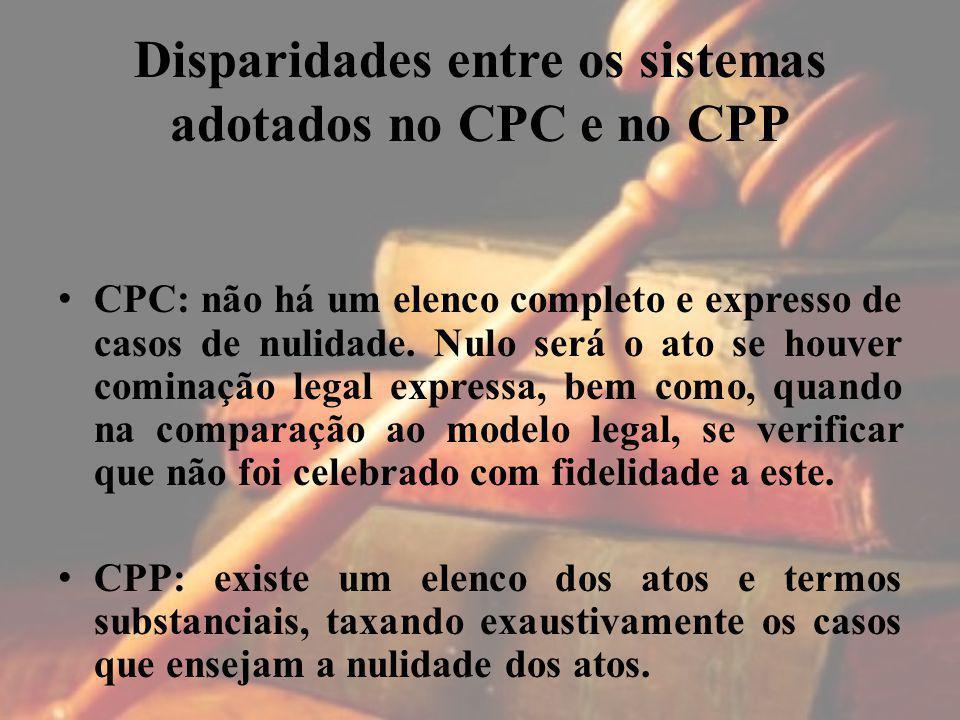 Disparidades entre os sistemas adotados no CPC e no CPP