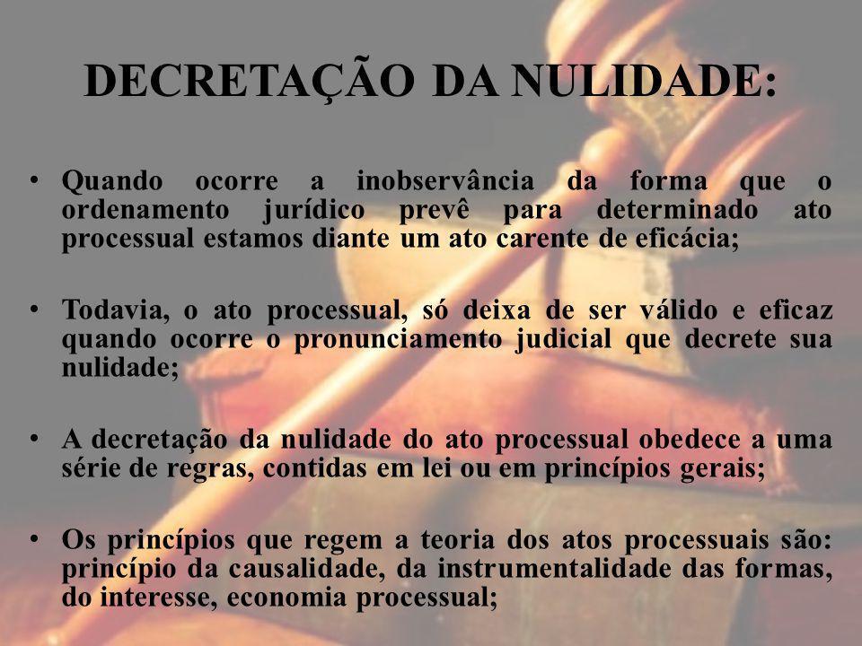 DECRETAÇÃO DA NULIDADE: