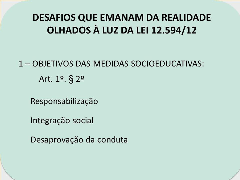 DESAFIOS QUE EMANAM DA REALIDADE OLHADOS À LUZ DA LEI 12.594/12