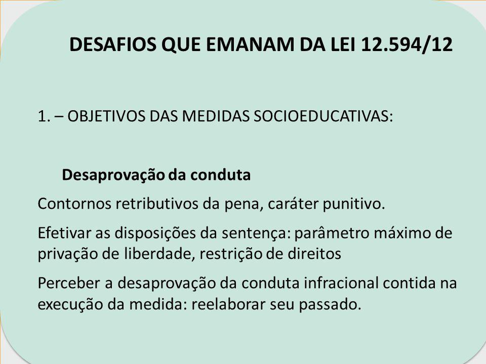 DESAFIOS QUE EMANAM DA LEI 12.594/12