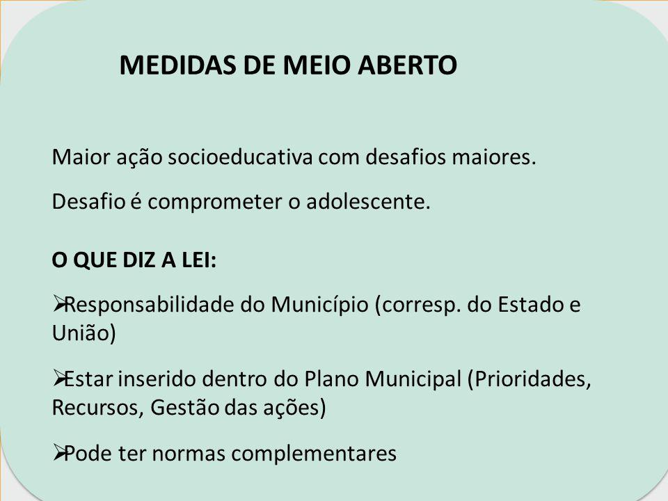 MEDIDAS DE MEIO ABERTO Maior ação socioeducativa com desafios maiores.