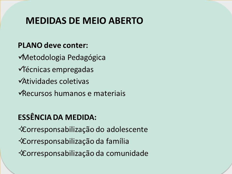 MEDIDAS DE MEIO ABERTO PLANO deve conter: Metodologia Pedagógica