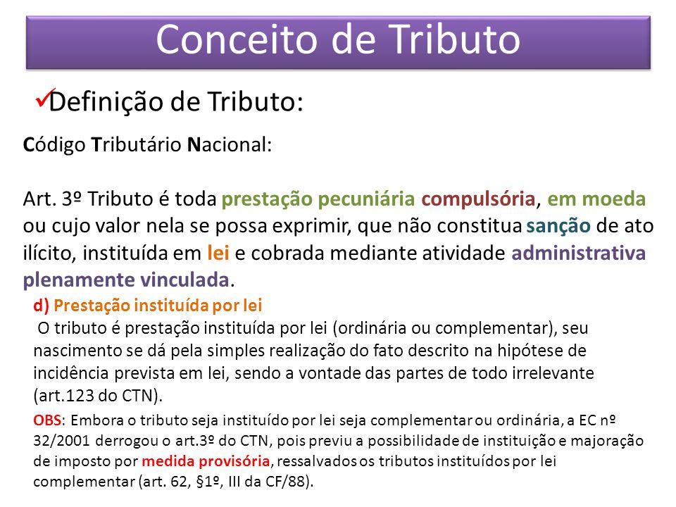 Conceito de Tributo Definição de Tributo: Código Tributário Nacional:
