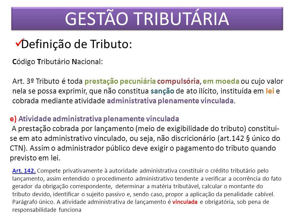 GESTÃO TRIBUTÁRIA Definição de Tributo: Código Tributário Nacional: