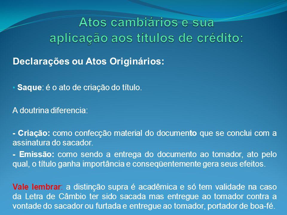 Atos cambiários e sua aplicação aos títulos de crédito: