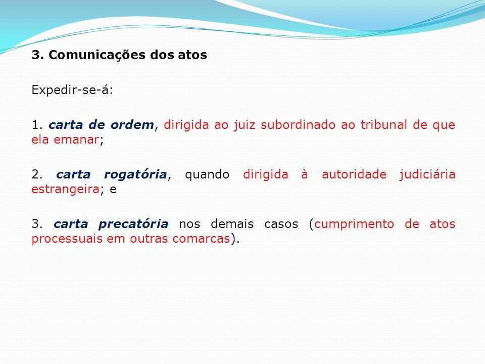 3. Comunicações dos atos Expedir-se-á: 1