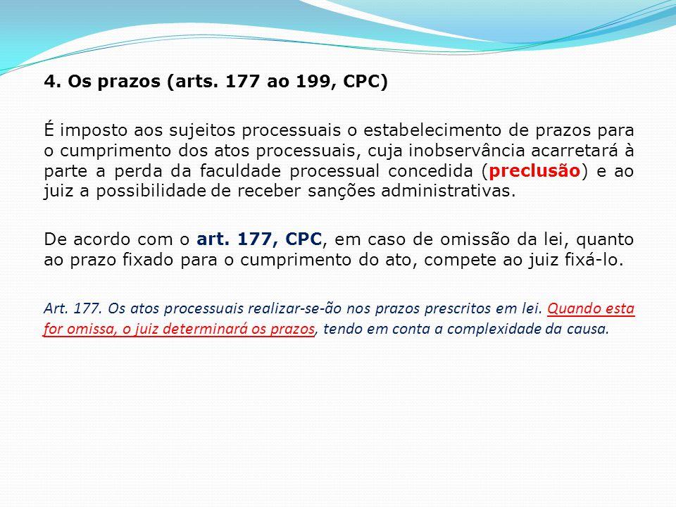 4. Os prazos (arts.