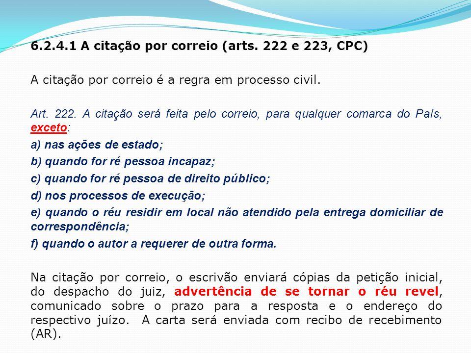 6. 2. 4. 1 A citação por correio (arts